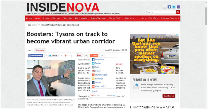 Boosters ; Tysons on track to become vibrant urban corridor Image