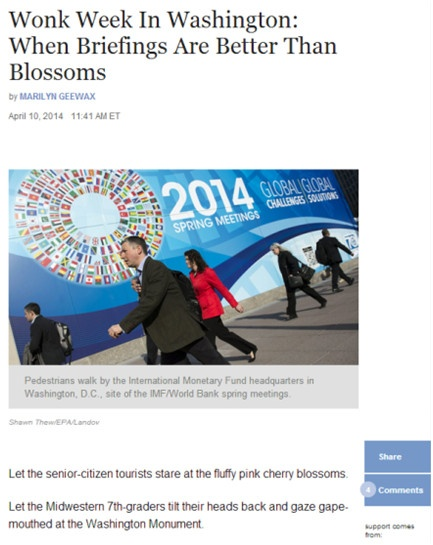 Wonk Week In Washington; When Briefings Are Better Than Blossoms Image